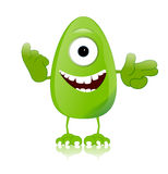 Green monster character expressions funny Stock Photography