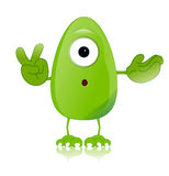Green monster character expressions funny Royalty Free Stock Photos