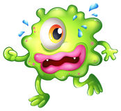 A green monster escaping. Illustration of a green monster escaping on a white background Stock Photos