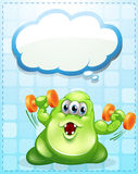 A green monster exercising with an empty cloud template Stock Image
