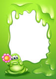 A green monster with a flower in front of an empty template Stock Images