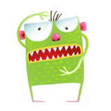Green monster frog showing size kids cartoon Royalty Free Stock Photography