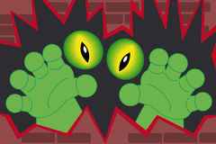 Green monster hands coming out of a wall. Green monster hands and creepy alien eyes coming out of a wall Stock Images