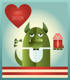 Green Monster Happy Birthday. Vector illustration of a green monster with tuxedo top and bow tie, standing and holding heart shaped balloon and a gift. Retro Royalty Free Stock Photography