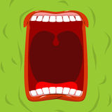Green monster with his mouth open. Scary ghost shouts. Horrible Stock Image