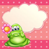 A green monster holding a flower Royalty Free Stock Photography