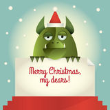 Green Monster Merry Christmas. Vector illustration of a green monster holding a banner with greetings Merry Christmas, my dears. Retro style Royalty Free Stock Photography