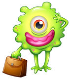 A green monster with an office bag. Illustration of a green monster with an office bag on a white background Royalty Free Stock Photos