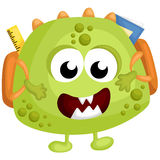 Green Monster School. A vector of a green monster with school stiff Stock Photo