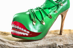 Green Monster shoes. royalty free stock photo