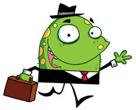 Green monster with a suitcase goes to work Stock Photo