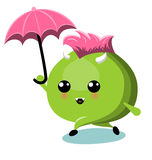 Green Monster With Umbrella Under Rain Stock Image