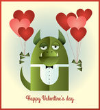 Green Monster Valentines day. Vector illustration of a green monster with tuxedo top and bow tie, standing and holding heart shaped balloons. Retro styled Royalty Free Stock Image
