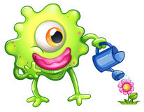 A green monster watering the plant. Illustration of a green monster watering the plant on a white background Stock Photography