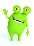 A green monster waving and looking very happy. Royalty Free Stock Images