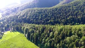 Green montains valley aerial view stock video footage