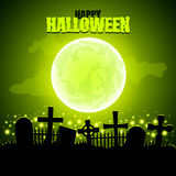 Green moon and graveyard Halloween background Royalty Free Stock Image