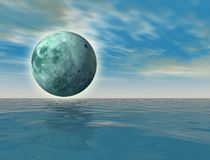 Green moon over the ocean. Virtual green moon over the ocean - digital artwork royalty free illustration