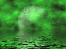 Green Moon & Water. Beautiful Emerald Green Fantasy Background With Moon & Stars Overlooking The Water Royalty Free Stock Images
