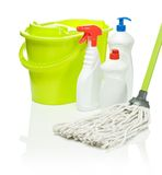 Green Mop And Bucket With Bottles Royalty Free Stock Photography