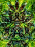 Green mosaic. Made of diffused lines. Illustration made on computer Stock Image