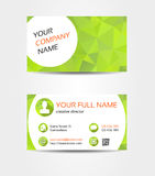 Green mosaic double sided business card Royalty Free Stock Images