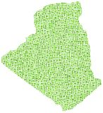 Green mosaic map of Algeria Royalty Free Stock Images
