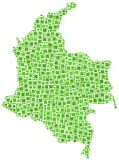 Green mosaic map of Colombia Royalty Free Stock Image
