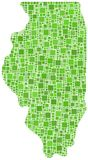 Green mosaic map of Illinois Stock Photography