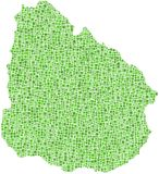 Green mosaic map of Uruguay Stock Images