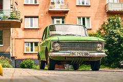 Green Moskvitch 412 Izh-412 car parked on the street. Lviv, Ukraine: June 16 2017 - Green Moskvitch 412 Izh-412 , a small family car by Soviet Russian Royalty Free Stock Photo