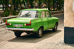 Green Moskvitch 412 Izh-412 car parked on the street. Lviv, Ukraine: June 16 2017 - Green Moskvitch 412 Izh-412 , a small family car by Soviet Russian Stock Photography