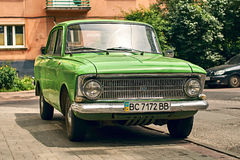 Green Moskvitch 412 Izh-412 car parked on the street. Lviv, Ukraine: June 16 2017 - Green Moskvitch 412 Izh-412 , a small family car by Soviet Russian Royalty Free Stock Photos