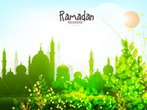 Green mosque for holy month, Ramadan Kareem celebration. Royalty Free Stock Photo