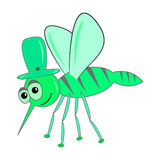Mosquito character cartoon vector green. Magic funny green cartoonish  little mosquito Royalty Free Stock Photography