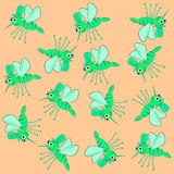Mosquito pattern green vector. Magic funny green cartoonish  little mosquito pattern Royalty Free Stock Photo