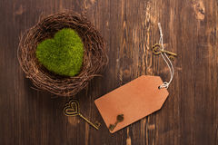 Green moss heart in a nest, keys and paper tag Stock Photography