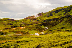 Green moss hills and heat pipes near Nesjavellir Geothermal Power Plant in Iceland Stock Images