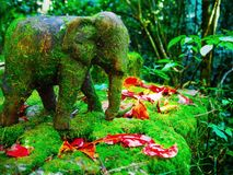 Green moss on wooden elephant and red fallen leaves. A wooden elephant of Jao Khrom Kiet memorial site stands on green moss in the hill evergreen forest Stock Image