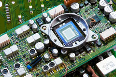 Green motherboard with chip Stock Photography