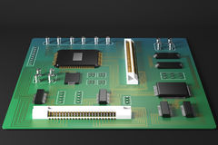 Green motherboard front Stock Image