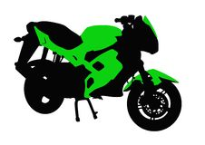 Green motorcycle Stock Photos