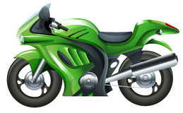 A green motorcycle. Illustration of a green motorcycle on a white background Stock Image