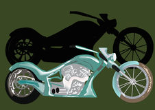 Green motorcycle with shadow Royalty Free Stock Photos