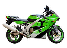 Green Motorcycle. Stylish green motorcycle side view against a white background Stock Photo