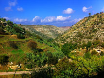 Green mountain with blue sky in Jordan. Travel Stock Photo