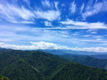 Green mountain chain under blue sky. With clouds in Turkey's Rize Stock Photography