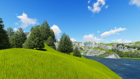 Green mountain with forest and lawn 3D render vector illustration