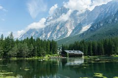 Green mountain lake chalet and shelter cabin Royalty Free Stock Photo