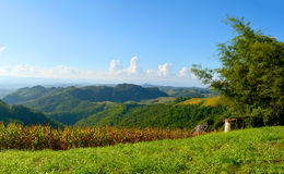 Green mountain landscape. With blue sky background Stock Photo